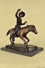 C.M. RUSSELL COWBOY RIDING HORSE Handcrafted Bronze Sculpture Statue Art Decor