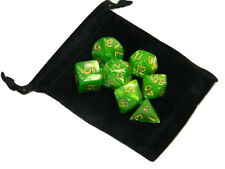 New 7 Piece Polyhedral Pearlescent Wood Elf Green Dice Set With Gold Numbers