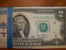 Crisp Uncirculated 2013 Two Dollar Bill (1) Crisp $2 Note Sequential numbers