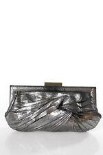 Anya Hindmarch Dark Gray Knotted Distressed Detail Gold Tone Clutch Handbag