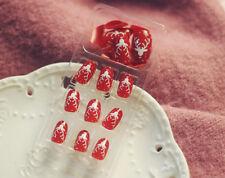 24pcs Merry Christmas Elk Deer Short Full False Nails Artificial Nail Tips DIY