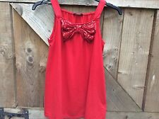 GEORGE (ASDA) GIRLS RED JERSEY SLEEVELESS RED GLITTER BOW PARTY TOP AGE 10/11 YR