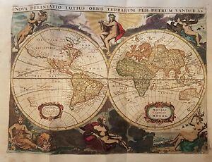 1720 WORLD MAP MAPPE MONDE ORIGINAL MAP BY VAN DER AA