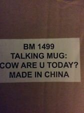 Brand New Talking Cow Mug Says Cow Are You Today?
