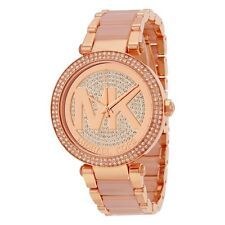 Michael Kors MK6176 Ladies Parker Crystal Pave Logo Dial Rose Gold Watch