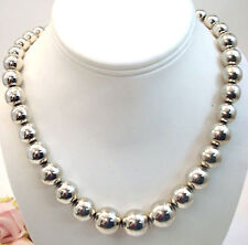 Vintage Jewelry Sterling Silver Taxco Heavy Beaded Necklace 18""