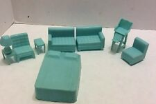 Vintage Superior Mini Doll House FurnitureBed NoHeadboard 2 chairs divided couch
