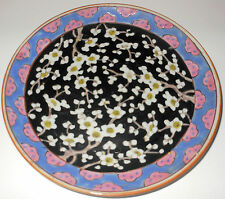 c1900 Nippon Japanese Heavily Enameled Cherry Blossom Plate, 8 & 1/2""