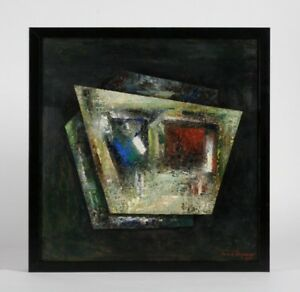 French Mid-Century Modern Abstract Painting by Andre Vigneau 1960 / Listed