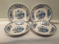A Set of Four Mason's Fruit Basket Multi Colored Blue Soup Bowls