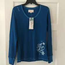Divas Snow Gear Women's Thermal Shirt Size XL Teal Blue Long Sleeve New