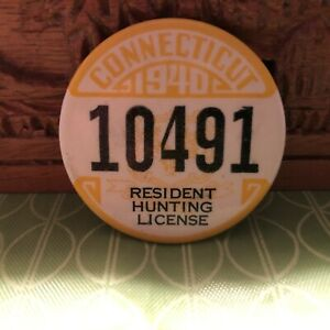 vintage 1940 Connecticut resident hunting license angling fishing trapping pin