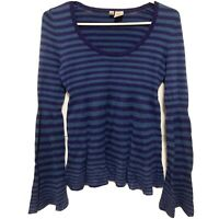 Anthropologie Moth Cashmere Blend Striped Bell Sleeve Sweater Size Small