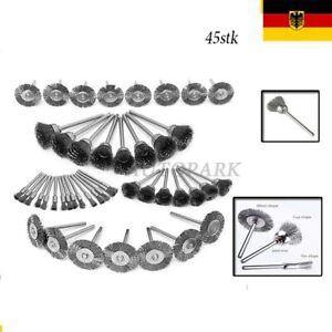 45 Stk. Edelstahl Drahtbürste für Dremel Schleifer Zubehör 5/15/25 mm Silber ju