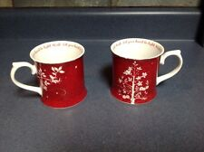 TWO 2009 Starbucks Christmas Red White Let Your Heart Be Light Wish Rosanna MUGS