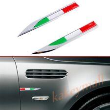 2X 3D Chrome Sticker Decal Italy IT Flag Emblem Logo Car Side Fender Blade Parts