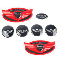 Set 7pcs 2010-2019 Fit For Hyundai Genesis Coupe Red Chrome WING Logo Emblem