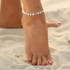 Boho Women Summer Beach Leg Bracelet Barefoot Anklets Sequins Foot Jewelry #10(silver Triangle)