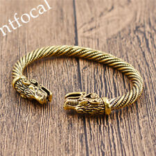 Vintage Viking Dragon Head Bracelet Cuff Wristband Men Gold Bangle Statement