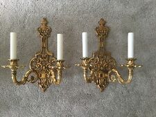 ~ PAIR Vintage Italian Cast Brass Double Lamp Wall Sconce Mod Dept. Italy ~