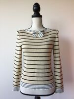 St John Collection By Marie Gray Knit Top Pullover Sweater Striped Long Sleeve