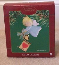 Carlton Heirloom Ornament Godchild 2002 Angel with Metal Detachable Charm Book