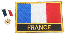 France Embroidered Sew or Iron on Patch Badge Plus Enamel Pin Badge