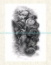 """US SELLER, removable rose clock prayer 8.25""""extra large temporary arm tattoo"""