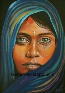 Tears of Emotion- Limited Edition Print Of Original Oil Painting Sad Indian Lady