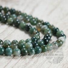 "Green Agate 8mm Beads Full Strand 15.5"" strand Round beads"