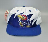 Kansas Jayhawks Logo 7 Sharktooth Vintage 90s Twill Snapback Cap Hat - NWT
