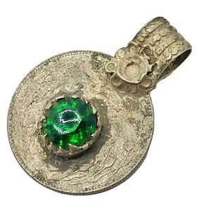 Vintage Middle Eastern Islamic Coin Pendant With Stone Charm Old Jewelry Rare