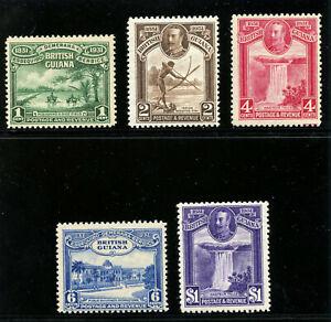 British Guiana 1931 KGV Centenary set complete MLH. SG 283-287. Sc 205-209.