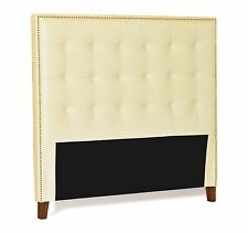 Queen Headboard in Ivory - Cream Genuine Leather Buttonless Tufted w/ Nail Heads