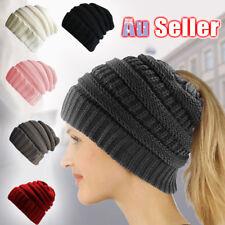 Women' Ponytail Beanie Skull Cap Winter Soft Stretch Cable Knit High Bun Hat Lot