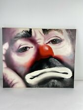 Vintage 1982 Rusty Rust Oil Painting On Canvas Of Emmet Kelly The Clown 87/250