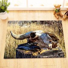 Western Cowboy Bull Skull Grass Non-Slip Bathroom Mat Door Rug Home Decor Carpet