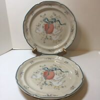 "3 Dinner Plates International China Marmalade Geese Apple 10.5"" Japan"
