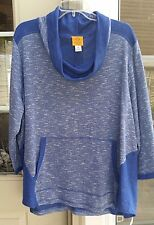 RUBY RD ATHLEISURE ROYAL BLUE GRAY COWL NECK PULLOVER TOP ~ 2X