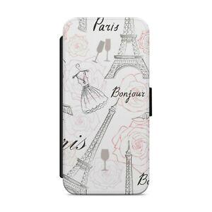 Eiffel Tower Paris Pattern WALLET FLIP PHONE CASE COVER for iPhone Samsung   z53
