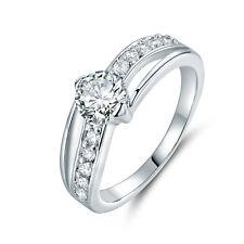Wave Ribbon Paved Diamond 18K White Gold Filled Women Lady Wedding Party Rings