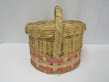 Vintage Large Woven Wicker Oval Easter Basket Sewing Storage Bin Basket