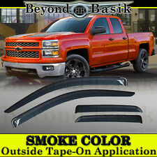 2014-2018 Silverado 1500 Extended Cab 4PC Smoke Vent Window Visors Rain Guards