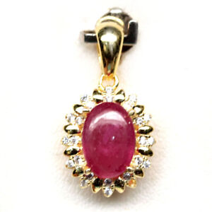 NATURAL 6 X 9 mm. PINK RUBY & WHITE CZ 925 STERLING SILVER PENDANT
