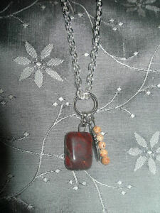 """Handcrafted Silver Chain Necklace Brown Jasper Stone Pendant 24"""" US SELLER"""
