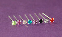 STUNNING 2.5 MM FLAT CRYSTAL SILVER STRAIGHT PIN NOSE STUD YOU BEND YOURSELF