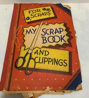 Vintage Scrapbook Album Loaded with Kids School Work and Vintage Valentine Cards