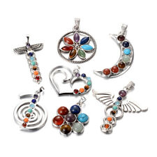 10pcs Mixed Shape 7 Chakra Healing Stone Pendants Big Dangle Charm Craft 46~70mm