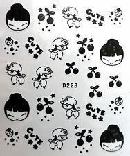 Nail art stickers décalcomanie manucure: têtes chiens cerises cute fraises-noir