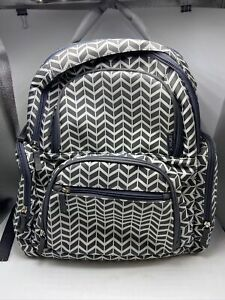 Carter's Handle It All Diaper Backpack Grey Chevron Pattern Baby Bag EUC